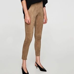 Tan suede Zara pants